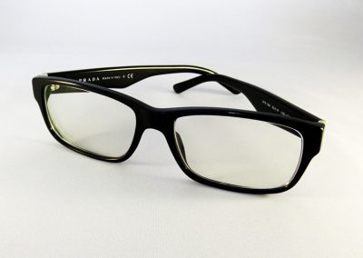 Polycarbonate XtrActive Transitions with a Blue-V coating to a nice Prada frame.