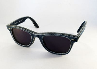Single vision 1.5 tints in a RayBan Wayfarer Denim frame.