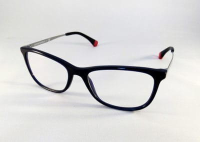 Freeform lenses with anti-reflective coating in an Emporio Armani frame.