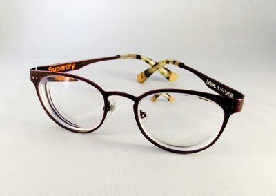 Ultra thin 1.74 anti glare & anti scratch lenses to a SuperDry 'Bobby' frame.