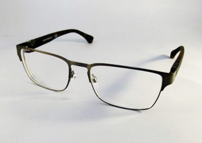 Single vision thin antireflective in an Emporio Armani frame.