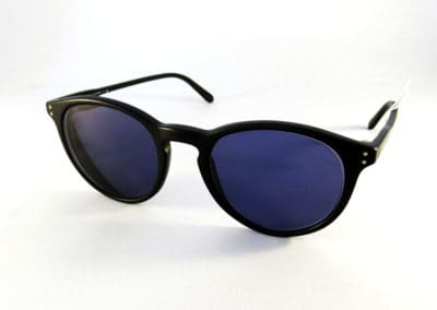 Single vision thin lenses with an 85% grey tint in a Ralph Lauren frame.
